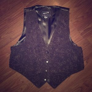 Katch Me Embroidered Genuine Leather Vest